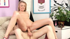 Hot blonde eats his prick and shows her gaping hole from butt fucking