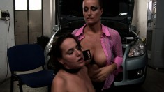 Blonde mistress gets naughty and punishes a horny young brunette