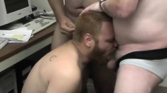 Three naughty office workers provide to each other amazing blowjobs