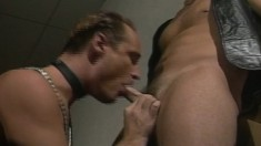 Kinky leather fetishists blowing and fucking each other until they cum