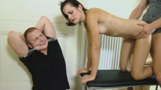 Horny boyfriend gets tied up while his girl fucks another dude