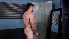 Beautiful stud Chuck gets naked and masturbates in the locker room