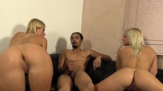 Insatiable Blondes Work Their Hot Lips And Juicy Cunts On A Black Pole