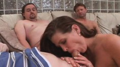 Horny wife with a sweet ass Jaiden finds pleasure between three cocks