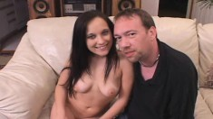 Beautiful brunette with lovely big tits gets pumped full of hard cock