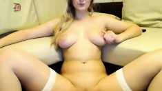 Chubby Brunette Big Boobs Dildo Masturbation