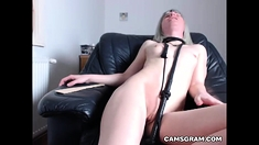Sexy blonde masturbates in front of webcam using toys