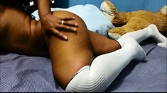 Brunette ebony pussy use sex toy for masturbation