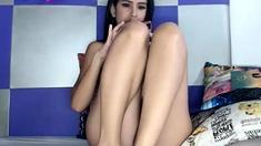 Feet fetish brunette babe masturbating with toys