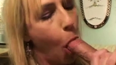 Blonde horny mom enjoy to get young cock in her wet cunt