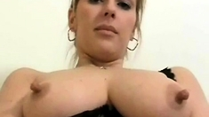 Hard Nipples Milf In Stockings Fucks Dildo