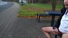 German Daddy Wanking Outdoor