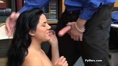 Busty Latina thief gets fucked at the storage room