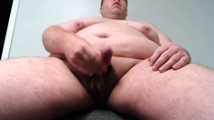 Horny chub jerks his cock