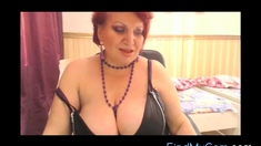 Naughty busty granny on cam